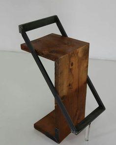 Zorro wood and metal design stool. Welded Furniture, Concrete Furniture, Iron Furniture, Steel Furniture, Classic Furniture, Unique Furniture, Industrial Furniture, Furniture Projects, Furniture Design