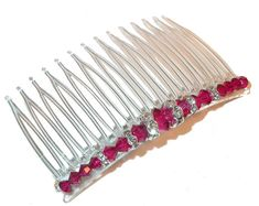 RUBY RED Crystal Hair Comb Swarovski Crystal by CharminglyYoursToo