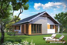 Projekt domu Żuczek Sto to nowoczesny dom parterowyo rzucie w kształcie litery T