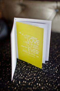 "Love this wedding ""program""  Modern Beachside Perth Wedding  ruffledblog"