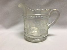 """Northwood Peacock At Fountain White Carnival Glass Creamer 4 7/8"""""""