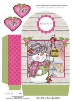 Chilly with Lamp Large Gift Bag on Craftsuprint designed by Janet Roberts - This gift bag goes with my 'Chilly with Lamp' mini kit ..... please see the link below - Now available for download!