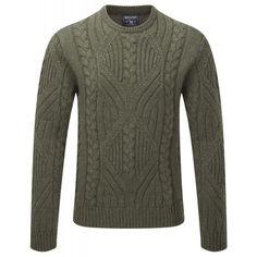 Woolrich Men s Cable Crew Neck Sweater - Green Bush Melange d2f6751e6