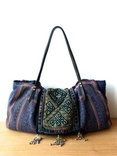 sapa bag - dzao bag, hmong bag - blue ethnic tote, tribal tote, ooak