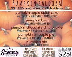All the deliciousness of fall wrapped up in a 6 pack of wax scent bars! Order your 6 pack and bring fall home today! www.katemanning.scentsy.us https://www.facebook.com/myscentchick #pumpkin #fall #halloween #Scentsy #autumn