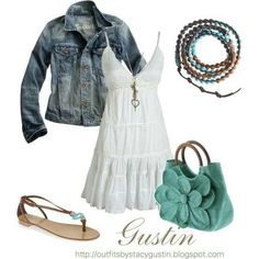 Jean jacket in good, longer length. Like the dress with the jacket. Bleh accessories.