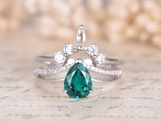 1ct Pear Cut Emerald Engagement Ring Set 14K White Gold Wedding Ring 2pcs Bridal Rings Set Crown Marquise Topaz Band Deco Moissanite Band by kilarjewelry on Etsy https://www.etsy.com/listing/554511592/1ct-pear-cut-emerald-engagement-ring-set
