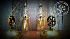 Industrial  Brass and Polished Nickel Pulley Canopy by 8SIX9Design
