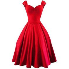 50s Vintage Style Rockabilly Swing 1950s Retro Capshoulder Party... (€9,42) ❤ liked on Polyvore featuring dresses, dresses/skirts, night out dresses, retro cocktail dresses, holiday party dresses, red going out dresses and going out dresses