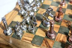 Olive Wood Chess Board Handmade With Free Pieces от TuniCrafts