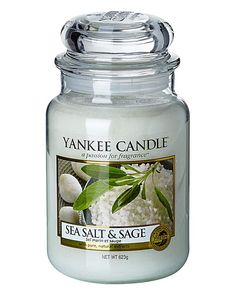 Yankee Candle Sea Salt & Sage Large Jar. This candle has a mix between the fresh and damp taste of salt blended with the fresh and woody scent of sage leaves. In addition to that, there is a small touch of the beautiful aromatic scent of amber. Great for relaxing time! #YankeeCandle
