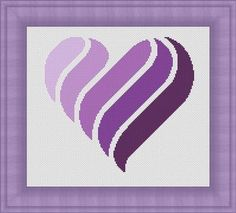 PURPLE HEART/ coeur violet- Counted cross stitch pattern /grille point de croix ,Cross Stitch PDF, Instant download , free shipping