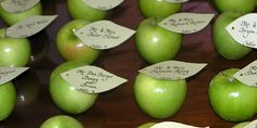 """Seat your guests in style! Read http://weddings.gatheringguide.com/ac/wedding-party-decorations-ideas-trends/new-place-card-ideas-naturally - Photo by Karen Keller-Eyer, Beautiful Writing / Calligraphy for Special Occasions, with the article """"New Place Card Ideas: Naturally!"""". #placecards #greenapples #calligraphy"""
