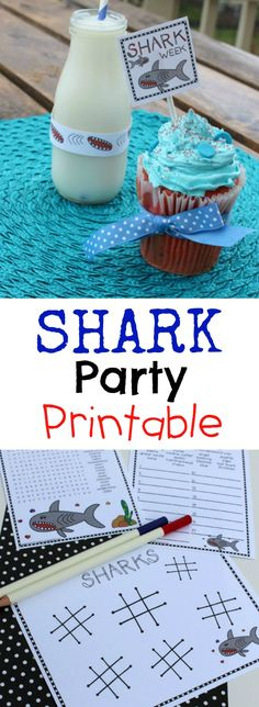 for shark week, birthday and all shark things worth celebrating SHARK Party Printable.for shark week, birthday and all shark things worth celebrating SHARK Party Printable.for shark week, birthday a 2nd Birthday Parties, Birthday Fun, Birthday Ideas, 10th Birthday, Shark Week, Kids Party Themes, Party Ideas, All Sharks, Shark Party