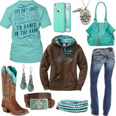 Dance In The Rain Turquoise Phone Case Outfit - Real Country Ladies