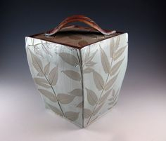 Pottery Box with Lid / Ceramic Urn / Botanical / Sumac Leaves / Handmade by Sue Capillo - 664 via Etsy
