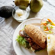 bkf = fried pancetta sandwiches, carrot Daikon radish salad and yogurt with La France pear