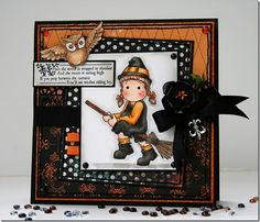 """handmade halloween card ... """"vintage"""" Magnolia stamp ... Matilda on a broom ... great Copic coloring ... luv the owl ..."""