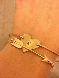 Arrow Bangle Bracelets Heart Bangle Bracelet by LayeredWithLove, $32.00