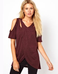 ASOS T-shirt with Cross Over Cold Shoulder in Neppy