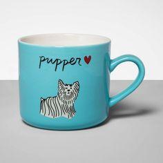 Stoneware Pupper Mug Blue - Opalhouse™ : Target Stoneware Mugs, Earthenware, Morning Handsome, Moose Mug, Yorkie Dogs, Blue Dog, Coffee And Tea Accessories, Dog Design, Tea Set