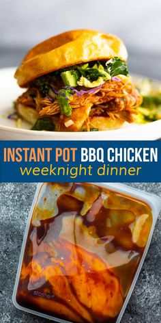 Juicy and fall apart tender, this Instant Pot BBQ chicken is simple enough for a weeknight, and can be prepped ahead to save time! Serve it on a bun with slaw and plenty of tangy barbecue sauce. #instantpot #mealprep Barbecue Sauce, Bbq Chicken, Freezer Meals, Instant Pot, Meal Prep, Dinner, Simple, Fall, Recipes