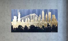 New York Skyline, Skyline decor, New York city, Gold leaf art, New York decor, Skyline wall art, New York gift, Art on canvas, City skyline