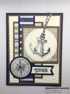 Sailing Home Card Tutorial Masculine Birthday Cards, Birthday Cards For Men, Masculine Cards, Nautical Cards, Beach Cards, Male Birthday, High Tide, Stamping Up Cards, Fathers Day Cards