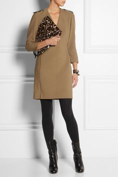 Burberry London | Leather-trimmed crepe dress | NET-A-PORTER.COM