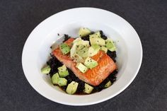 Broiled or Grilled Salmon with Avocado, Wasabi, and Black Rice (via marriahlavigne.com)