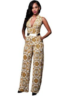 Carnival 2017 Tapestry Print Belted Jumpsuits Size S - L