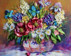 picture Wildflowers 3 .Silk ribbon от SilkRibbonembroidery на Etsy