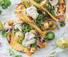 Mexican night will never be the same! Si Si Cilantro Seasoning makes a flavorful marinade for grilled shrimp in these tacos served in tortillas with Si Si ilantro Coleslaw. New Recipes, Crockpot Recipes, Dinner Recipes, Cooking Recipes, Cooking Ideas, Delicious Recipes, Food Ideas, Yummy Food, Favorite Recipes