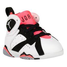 Jordan Retro 7 - Girls' Toddler - White/White/Black/Hot Lava