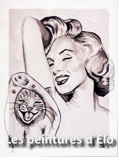 lol cat funny drawing art marilyn monroe seductive les peintures d'elo
