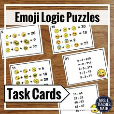 These emoji logic puzzles would be such a fun back to school activity for middle school or high school!  I could even use them for sub plans later in the school year!
