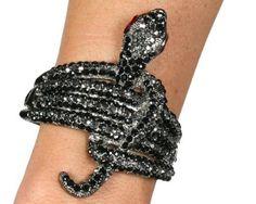 Rhinestone Snake Design Cuff Style Bracelet with Hinge - Color Choice