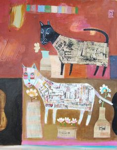 """Two Cats by Nathaniel Mather, 18"""" x 24"""""""