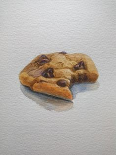 cookies with chocolate chips / bitten biscuit / original watercolor food / small beige art / wat Cookie Drawing, Watercolor Food, Watercolour, Beige Art, Food Sketch, Chocolate Chip Cookies, Chocolate Chips, Learn Art, Food Illustrations