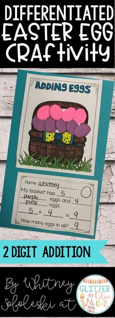 Use this fun Easter egg craftivity to reinforce counting, addition, subtraction, and color words! I've included four different versions so you can use the option that fits your classroom's needs best or you can differentiate. Keywords: Spring theme, kindergarten, first grade, craft, math craft, Spring math, education, teaching, teacher, special education, intervention, math intervention, math craft, Easter theme, Easter math center