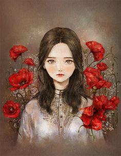 붉은 양귀비꽃 여인 (Red Poppy Flower Woman) by 애뽈 on Grafolio Colorful Drawings, Art Drawings, Korean Art, Cute Illustration, Anime Art Girl, Art Sketchbook, Aesthetic Art, Cartoon Art, Character Art