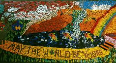 """May the World be Yours"" a mosaic.  Client artwork c. 2003.  At Youth Projects Glenroy."
