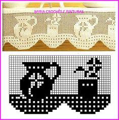 MIRIA CROCHÊS E PINTURAS: BARRADOS DE CROCHÊ DE FILÉ COM XÍCARAS, JARRAS E BULES N° 727 Filet Crochet, Crochet Doily Diagram, Crochet Lace Edging, Crochet Stitches Patterns, Weaving Patterns, Crochet Doilies, Embroidery Patterns, Stitch Patterns, Crochet Home