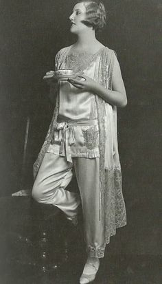 A bit of leisure in your lounging pajamas, enjoying tea, 1920s style! via http://maudelynn.tumblr.com/