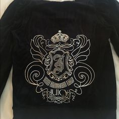 Juicy Couture Black Velour Crystal Sweater L juicy Couture black velour hoodie zip through sweater. Large logo on the back, silver with diamanté details. Size Large only worn a couple of times Juicy Couture Sweaters