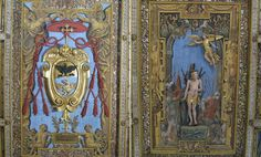 Ceiling by Giovanni Vasanzio: (left) coat of arms of Cardinal Scipione Borghese; (right) martyrdom of S. Sebastiano by Annibale Durante    Basilica di S. Sebastiano