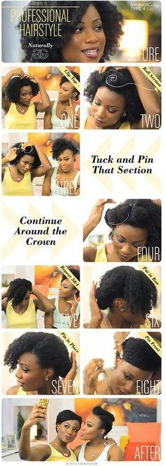 Roll pin & tuck natural hair