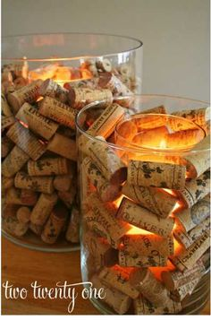 Wine Cork Candle Holder... made some of these and I love them!