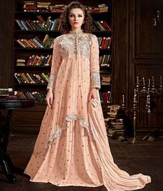 Embroidered Georgette and Net Wedding Party Suit