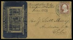 "3c Dull Red (11). Full margins to in, bright color, tied by ""Philadelphia Pa. Apr. 18"" circular datestamp on buff cover to New York with carriage repository blue cameo corner card with illustration of building with carriages"